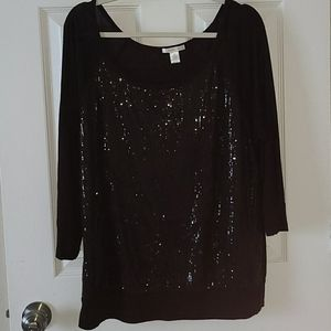 Sequin 3/4 sleeve blouse